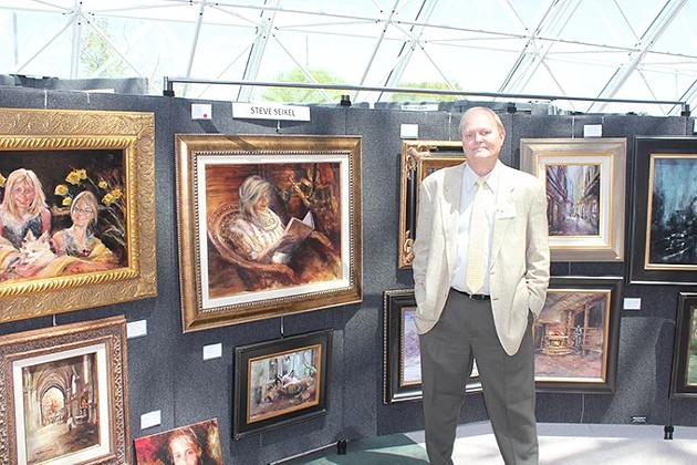 Steve Seikel, an artist who will display paintings at the Oklahoma Artists Invitational Benefit November 13-15 at North Park Mall, which supports the Mercy - Foundation Stroke Education & Treatment program. Dr Richard V Smith speaks at 2pm on Sat & Sun. Steve and Karen Seikel are the owners of Steve's Rib in Edmond.