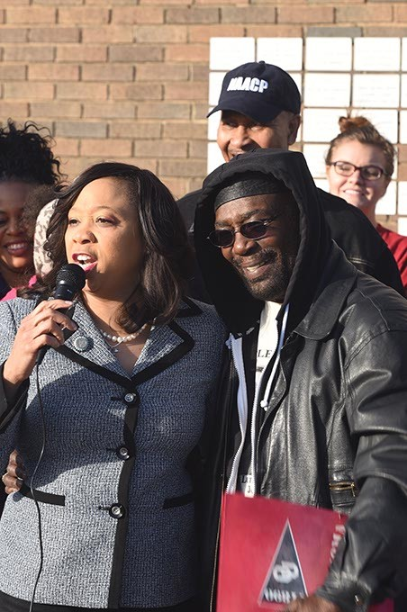 """Senator Anastasia Pittman next to former NAACP leader Roosevelt Melton, addressing a crowd gathered at the Freedom Center, 2609 N. Martin Luther King Avenue, Monday morning, marking MLK Day before she and other leaders embarked on a """"Silent March"""" to the State Capitol.  mh"""