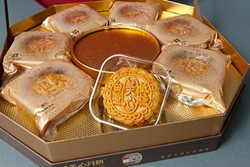 In honor of the Chinese Moon Festival, Super Cao Nguyen Market is stocking specialized mooncake products. (Mark Hancock)