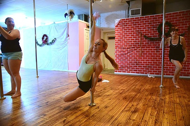 Lynn Crowe, owner, during an evening workout session at Tease Dance & Fitness.  mh