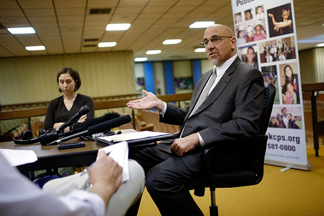 Oklahoma City Public Schools Superintendent Rob Neu talks with press about the recently released suspension report at the OKCPS Admin Building in Oklahoma City, Tuesday, April 21, 2015. - GARETT FISBECK