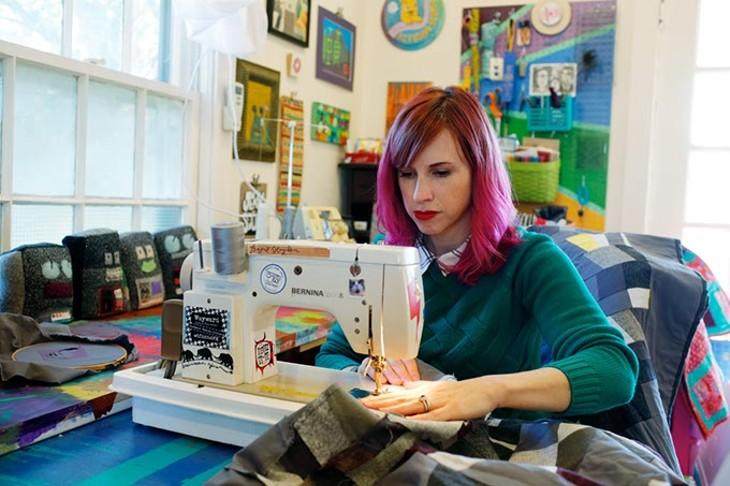 Sara Cowan pieces a quilt at her home in Oklahoma City, Thursday, Oct. 29, 2015. - GARETT FISBECK