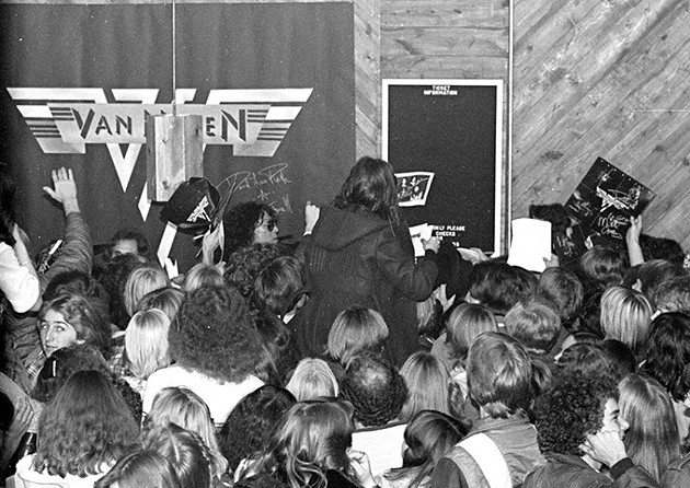 Van Halen during a rare in-store appearance at Sound Warehouse on North May Avenue in November 1978. (Rich Galbraith / Provided)