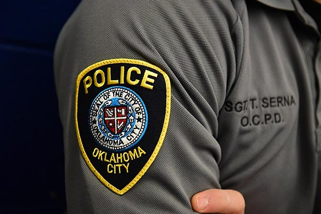 Sargent Travis Serna's patch and shirt at the OKC Police Training Center.  mh