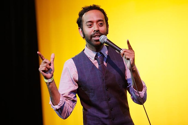 Comedian Paul Varghese performs at the Sooner Theatre during Norman Music Festival, Thursday, April 23, 2015. (Garett Fisbeck)