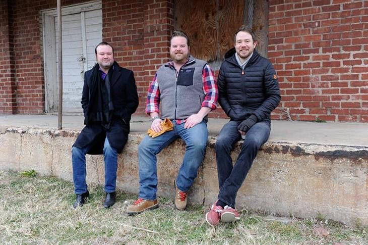 Chris Barrett, Russ Johnson, and Jonathon Stranger at site of a new restaraunt concept in Edmond, Friday, Jan. 22, 2016. - GARETT FISBECK