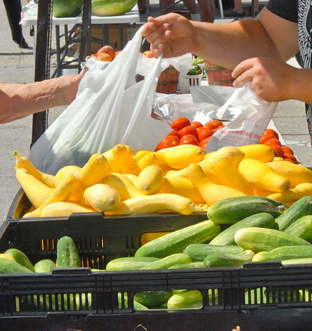 Bucky's Fruits and Vegetables at the Norman Farmers Market, 8-3-11.  mh