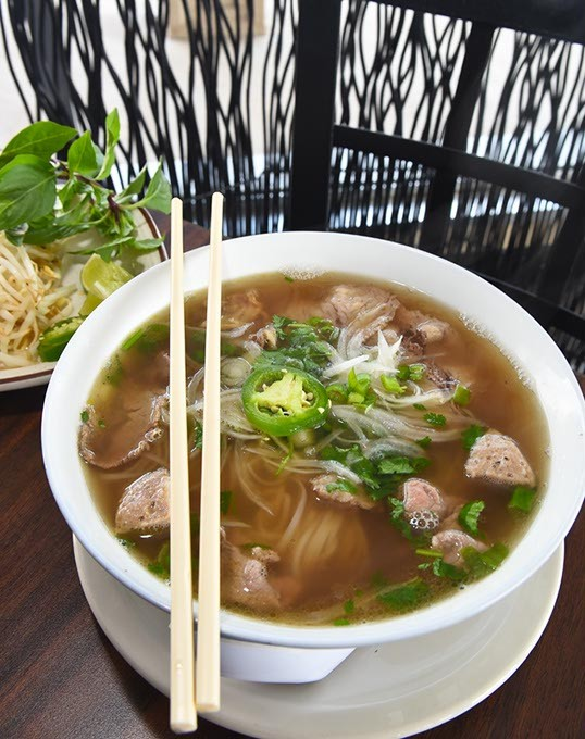 P14 Specialty Rice Noodle with All Meats, at Pho Tran, 937 SW 59th Street, 8-26-15.  Mark Hancock