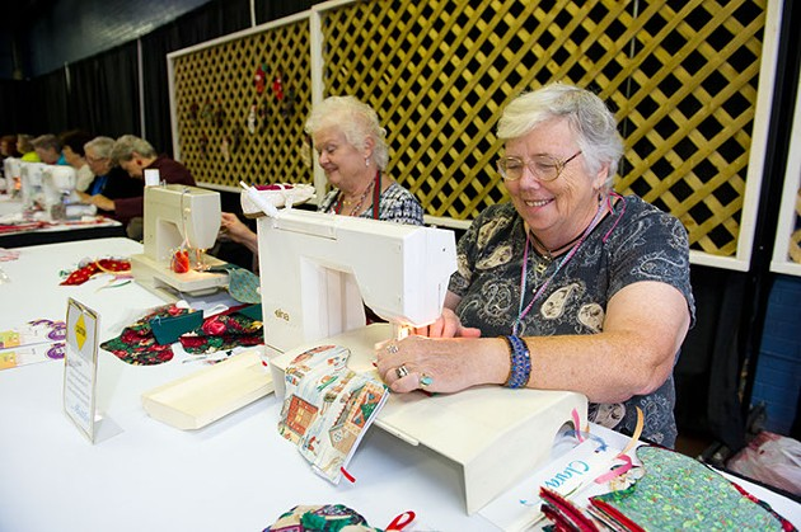 Left Karen Jackson and right, Irene Morgan sew. (Shannon Cornman)