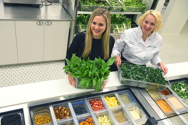 From left, Owner Whitney McClendon and Chef Beth Ann Lyon, with greens and other salad fixings, at Provision Kitchen in Nichols Hills Plaza, 10-1-15. - MARK HANCOCK