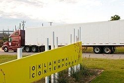 The first of 11 million feed of rope arrives in semis for insallation at Campbell Park, N.W. 11th & Broadway which is directly in front of the site for the new Oklahoma Contemporary Arts Center.  Construction of some adjacent offices has already began.  10-2-14.  mh