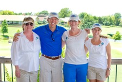 The Fields and Futures team at the Green's Golf Course providing lunch and golf for coaches. From left, Dot Rhyne, Tim McLaughlin, Liz Cromwell, Mandi O'Neill. - PHOTO/SHANNON CORNMAN