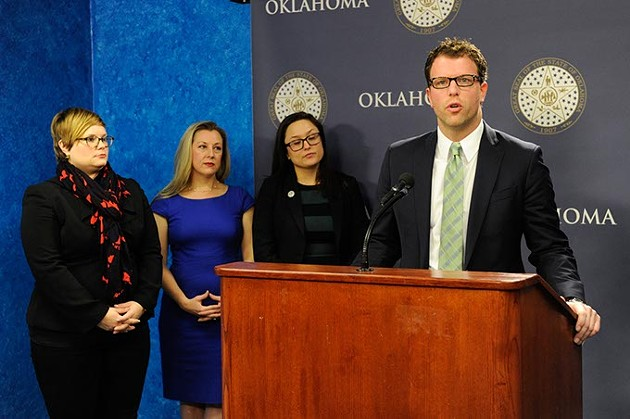 Rep. Jason Dunnington speaks during an Equal Pay for Equal Work Bill press conference at the Oklahoma State Capitol, Jan. 27, 2015. - GARETT FISBECK