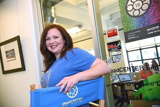 Kim Haywood, program director for the DeadCENTER Film Festival, at their offices on Film Row.  mh