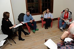 Josh Buss meets with a group to discuss local cohousing options. (Garett Fisbeck)