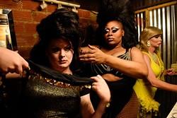 Lindsay Paige (center) helps Raven Delray with her costume during Gender Bender Lipstick Revue at Phoenix Rising (Garett Fisbeck)