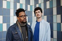 From left rapper Open Mike Eagle poses for a photo with producer Paul White. - OWEN RICHARDS / PROVIDED