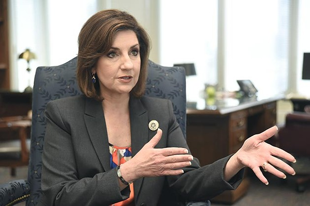 New State Public Schools Superintendent Joy Hofmeister answers a question during the Gazette interview with reporter Ben Felder, 4-07-15.  mh