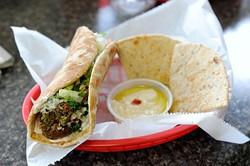 Falafel sandwich at Sister's Mediterranean Taste in Norman, Thursday, Dec. 31, 2015. - GARETT FISBECK