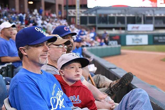Spectators during the season opener at the Chickasaw Bricktown Ballpark with the OKC Dogers vs Round Rock Express, 4-9-15.  mh