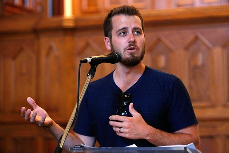 Jonathan Dodson speaks during a Better Classen presentation at City Pres Church in Oklahoma City, Tuesday, June 23, 2015. - GARETT FISBECK