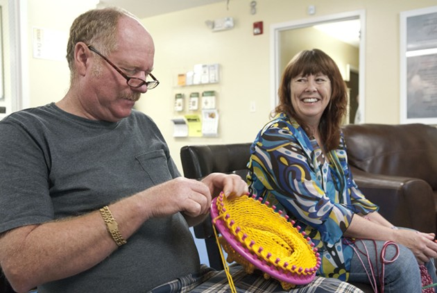 Tammy McKee learned a lot about knitting from Daniel Sherman, at the OKC Drop in Center home at 1311 N. Lottie.