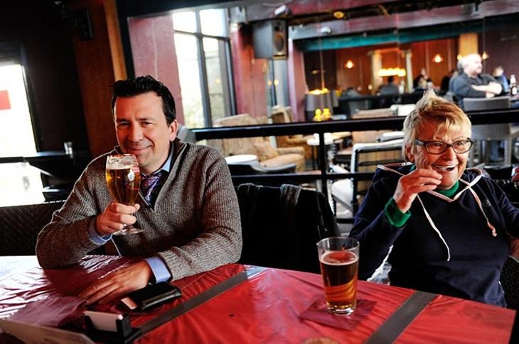 Burl Beasley and his mother, Helga, enjoy happy hour drinks at Apothecary Thirty-Nine in Oklahoma City, Tuesday, Feb. 24, 2015. - GARETT FISBECK
