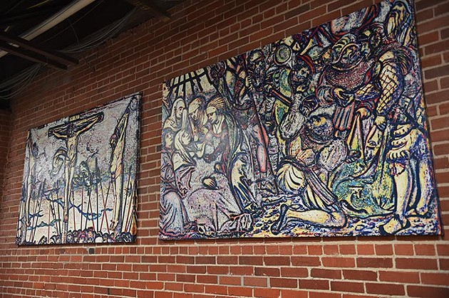 Artwork by Werner Ritter with a violent visual message, hanging in the lunchroom at City Rescue Mission, 10-8-15. - MARK HANCOCK
