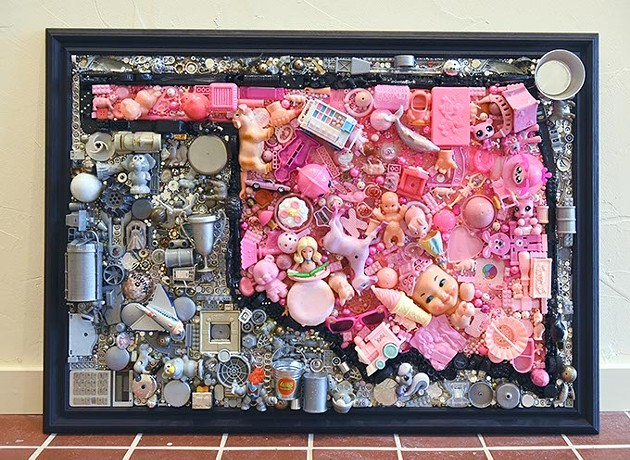 """""""Pink Oklahoma"""" by a woman artist, Shel Wagner, sold, from her just ended exhibit at The Project Box on The Paseo gallery, 10-1-15. - MARK HANCOCK"""