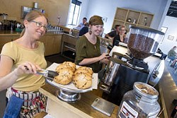 Elena Farrar, Hannah Tripp and owner Laura Massenat busy with customers at Elemental Coffee.Photo/Shannon Cornman
