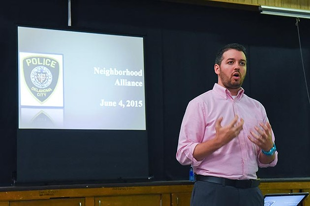 "Ryan Baker, Programs Director, The Neighborhood Alliance of Central Oklahoma, kicks off the ""Crime Prevention through Environmental Design Workshop, Thursday night at the OCCC Capitol Hill Center in south OKC.  mh"