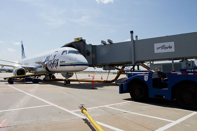 Newly added Alaskan Airlines plane prepping for take off at the Will Rogers Airport, Oklahoma City, wednesday, july 1, 2015. - KEATON DRAPER