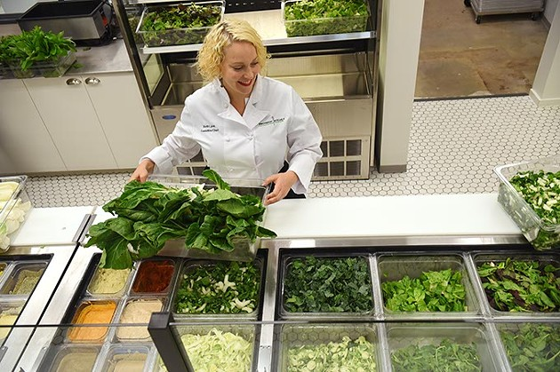 Chef Beth Ann Lyon  with fresh lettuce and more at Provision Kitchen in Nichols Hills Plaza, 10-1-15. - MARK HANCOCK