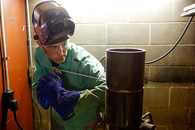 Charles Canty works in welding class at the Plumbers and Pipefitters Local 344 Training Center in Oklahoma City, Tuesday, Oct. 20, 2015. - GARETT FISBECK
