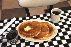 A stack of pancakes at the Hungry Frog Restaurant.  mh