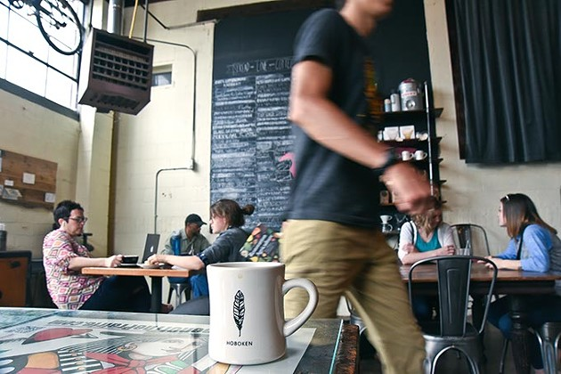 A recent busy morning at the Hoboken Coffee Roaster in Guthrie.  mh