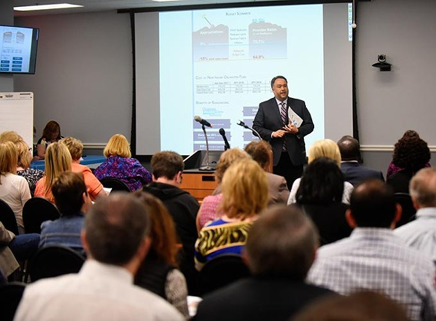 Nico Gomez, CEO of The Oklahoma Health Care Authority, talks about the Medicaid Rebalancing Act of 2020, Thursday, April 7, 2016. - GARETT FISBECK
