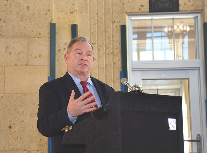 John Johnson, ACOG Executive Director, speaks and intoduces mayors before they sign document, during a ceremony held in the historic Santa Fe Station, being designated the regional transit hub, in downtown OKC, 12-1-2015. - MARK HANCOCK