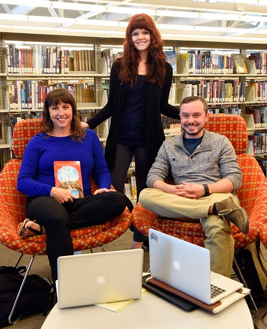 Shelby Simpson?, Mary Wuestewald, and Jake McClure of Drunk Publishing at Southwest Oklahoma City Public Library in Moore, Monday, May 2, 2016. - GARETT FISBECK