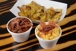 Macoronie and cheese, baked beans, and home fries at Right-A-Way Burger in Edmond, Thursday, Aug. 18, 2016. - GARETT FISBECK