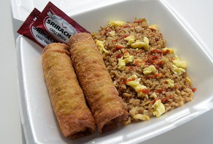 Ground turkey egg rolls and rice at Taste of Soul, Monday, Aug. 7, 2017. - GARETT FISBECK