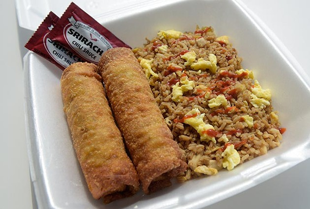 Ground turkey egg rolls and rice at Taste of Soul, Monday, Aug. 7, 2017. - GARETT FISBECK
