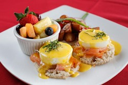 House-cured salmon Benedict at Rococo, Tuesday, March 28, 2017. - GARETT FISBECK