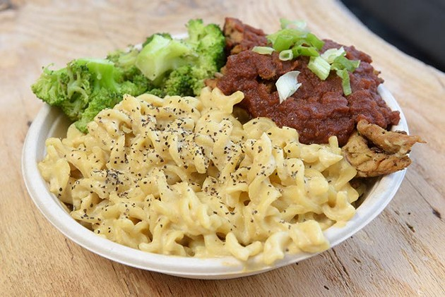 The Down Home Bowl features The Loaded Bowl's signature cashew mac and cheese.   Photo Garett Fisbeck.