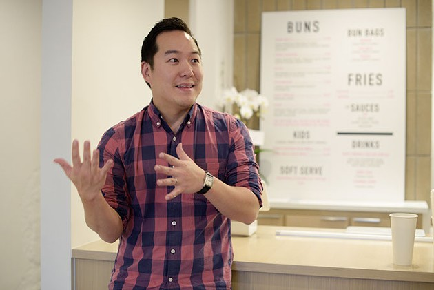 Daniel Chae talks about his new restaurant concept Ur/Bun, Wednesday, May 10, 2017. - GARETT FISBECK