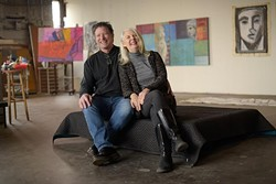 Tony Dyke and Susan Morrison-Dyke pose for a photo at their studio in Oklahoma City, Wednesday, Dec. 14, 2016. - GARETT FISBECK