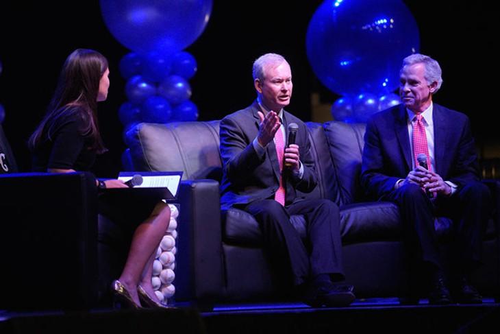 Oklahoma City Mayor Mick Cornett and former Mayor Kirk Humphreys speak about the importance of Bricktown Ballpark during the Feb. 22 Oklahoma City Dodgers season kickoff luncheon at The Criterion. (Garett Fisbeck)