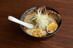 Garlic tonkatsu ramen at Yuzo Sushi Tapas Friday, April 14, 2017. - GARETT FISBECK