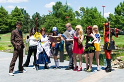 from left Alexander Crowley, Leo Gasai, Bailey Hooten, Rylee MacFarlane, Steven Jackson, Kayla Brasel, Alexis Perry, Toki Moriarty and Jessica Chase dressed in cosplay at SoonerCon 24 in 2015. | Photo SoonerCon / provided