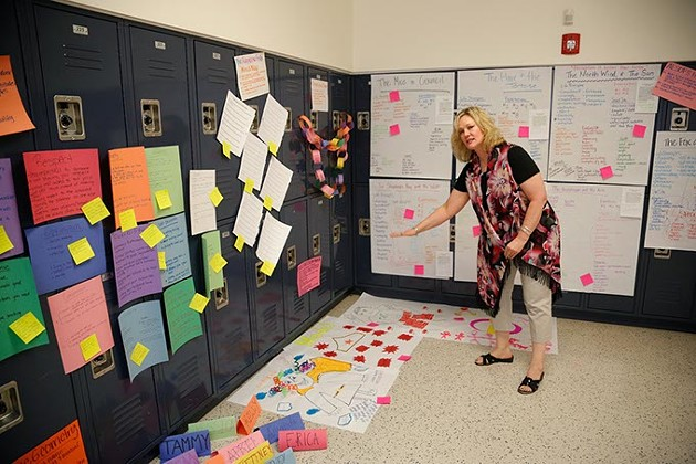 Tami King shows a class project during Great Expectations at Edmond North High School, Thursday, June 23, 2016. - GARETT FISBECK